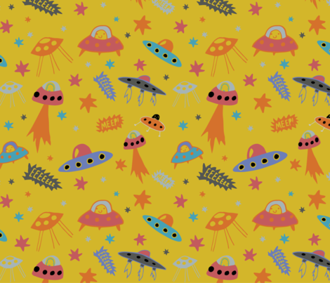 Space ships bright fabric little red pony spoonflower for Red space fabric