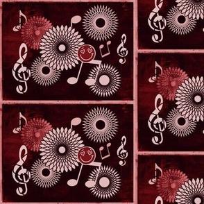 MDZ36 - Large - Musical Daze Tiles in Garnet Red aka Mahogany Medley