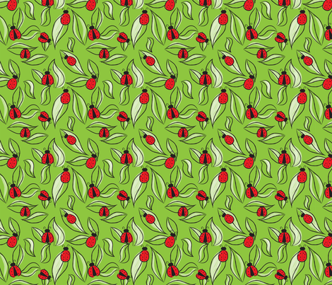 Ladybugs and Leaves  fabric by whyitsme_design on Spoonflower - custom fabric