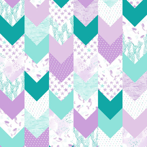 whimsical mermaids - wholecloth fabric  - purple and teal