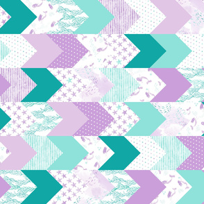 whimsical mermaids - wholecloth fabric  - purple and teal (90)