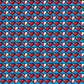 8bit Hearts Blue
