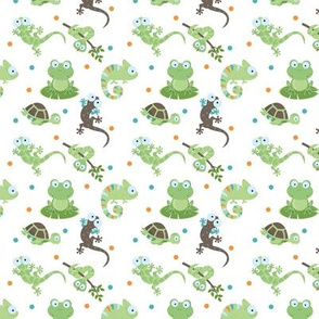 Reptile Mix Up / cute reptile fabric