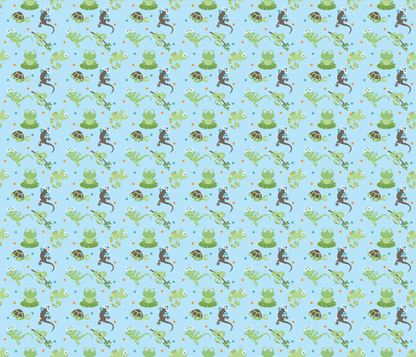 Reptile Mix Up Blue fabric by snapdragonandfinn on Spoonflower - custom fabric