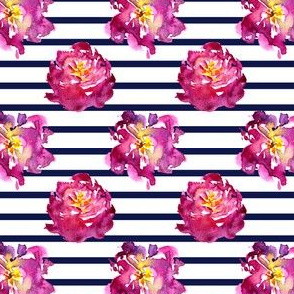 Watercolor flowers and navy stripes