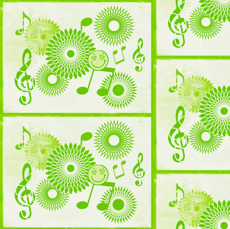 Musical Daze in Lime Green Trio - MD16 fabric by maryyx on Spoonflower - custom fabric