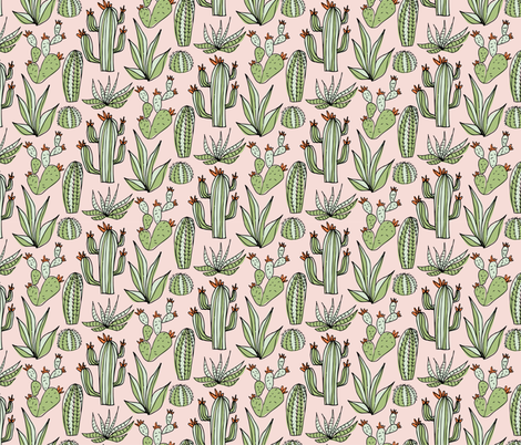 BLUSH CACTUS fabric by melanie_hodge_designs on Spoonflower - custom fabric
