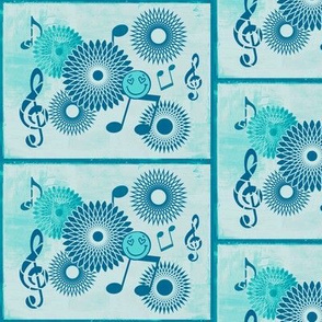 Musical Daze in Cyan Blue and Aqua