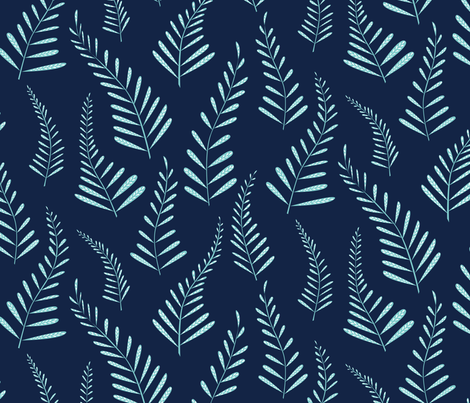 Ferns - Indigo and light blue fabric by jillbyers on Spoonflower - custom fabric