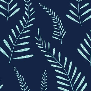 Ferns - Indigo and light blue