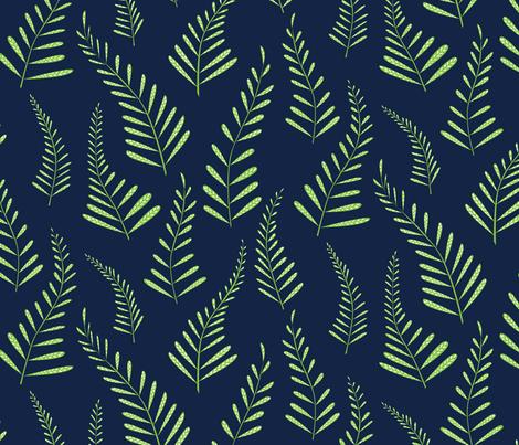 Ferns - Indigo and Green fabric by jillbyers on Spoonflower - custom fabric
