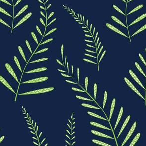 Ferns - Indigo and Green