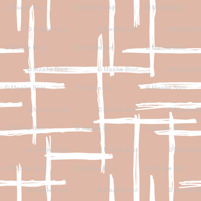Abstract geometric raster peach blush checkered stripe stroke and lines trend pattern grid