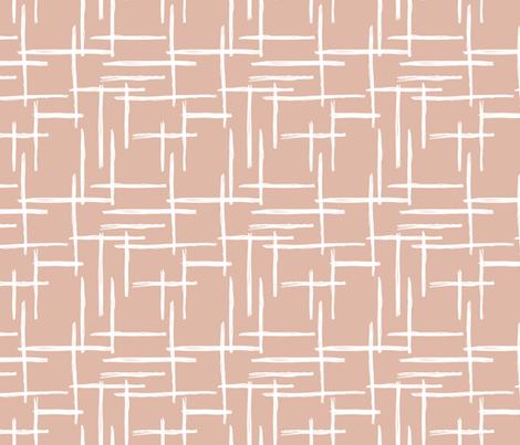 Abstract geometric raster peach blush checkered stripe stroke and lines trend pattern grid fabric by littlesmilemakers on Spoonflower - custom fabric