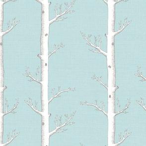 White Trees on Softest Sky Blue Linen