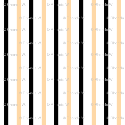 Ferny Glade Vertical Stripes - Wide White Ribbons with Deep Black and Cantaloupe - Small Scale