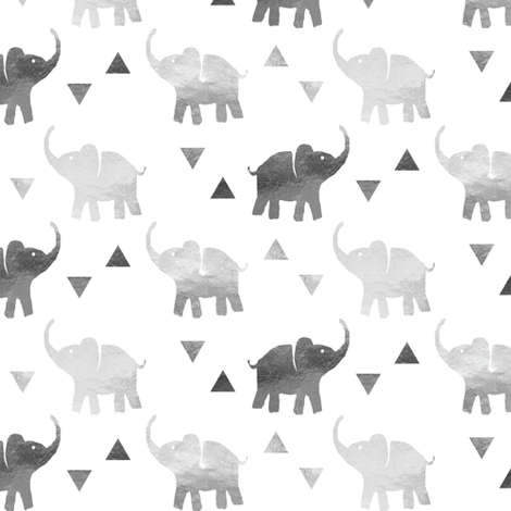 Elephants & Triangles - Silver - Micro Print fabric by hilarycaroline on Spoonflower - custom fabric