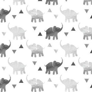 Elephants & Triangles - Silver - Micro Print
