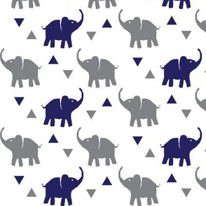 Elephants & Triangles - White Navy Gray - Micro Print