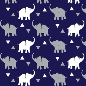 Elephants & Triangles - Navy Gray White - Micro Print