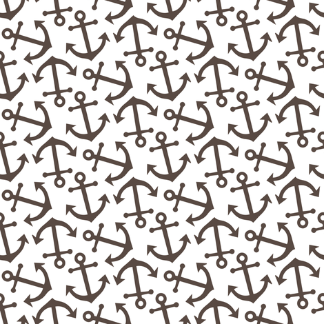 Anchor Nautical Sailing Ocean Water Chocolate Brown_Miss Chiff Designs fabric by misschiffdesigns on Spoonflower - custom fabric