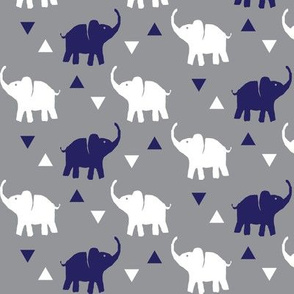 Elephants & Triangles - Gray White Navy Blue - Micro Print