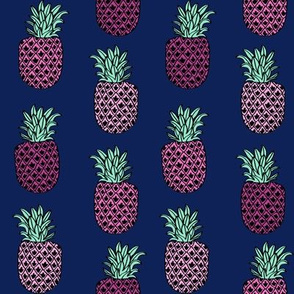 pineapple fabric // pineapples fruit fruits summer tropical design by andrea lauren - navy and pink