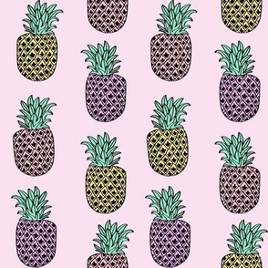 pineapple fabric // pineapples fruit fruits summer tropical design by andrea lauren - pastel purple