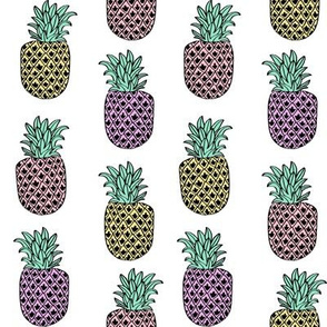 pineapple fabric // pineapples fruit fruits summer tropical design by andrea lauren - pastel on white