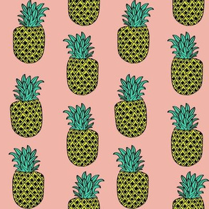 pineapple fabric // pineapples fruit fruits summer tropical design by andrea lauren - peach