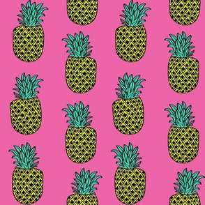 pineapple fabric // pineapples fruit fruits summer tropical design by andrea lauren - pink