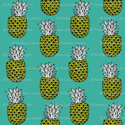 pineapple fabric // pineapples fruit fruits summer tropical design by andrea lauren - turquoise