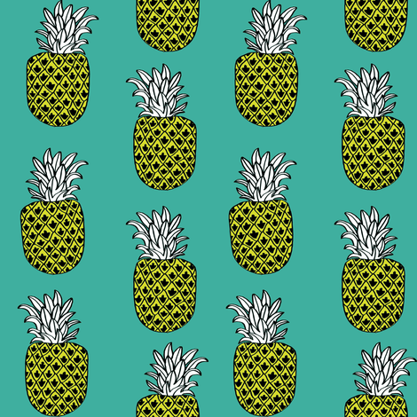 pineapple fabric // pineapples fruit fruits summer tropical design by andrea lauren - turquoise fabric by andrea_lauren on Spoonflower - custom fabric