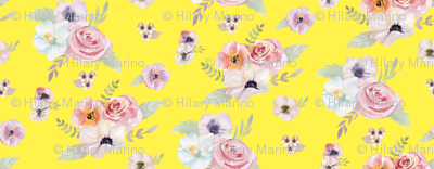 Watercolor Floral I - Yellow - Micro Print