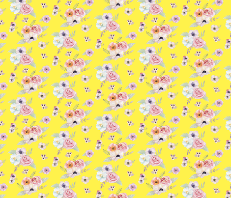 Watercolor Floral I - Yellow - Micro Print fabric by hilarycaroline on Spoonflower - custom fabric