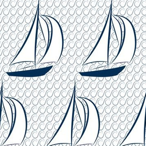 16-03K Nautical Sail Boat Sailing Navy Blue Wave Water Ocean Beach_Miss Chiff Designs