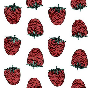 strawberries fabric // strawberry fruit berries summer food fruit design by andrea lauren - white