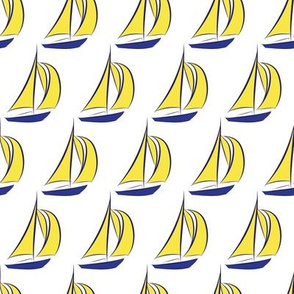 Nautical Sail Boat sailing Water Ocean Navy Blue Yellow_Miss Chiff Designs