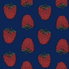 strawberries fabric // strawberry fruit berries summer food fruit design by andrea lauren - navy