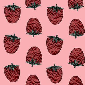 strawberries fabric // strawberry fruit berries summer food fruit design by andrea lauren - pink