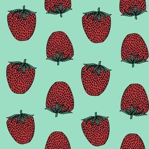 strawberries fabric // strawberry fruit berries summer food fruit design by andrea lauren -mint