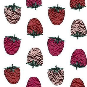 strawberries fabric // strawberry fruit berries summer food fruit design by andrea lauren - multi