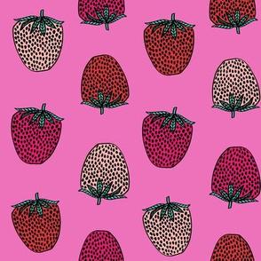 strawberries fabric // strawberry fruit berries summer food fruit design by andrea lauren - bright pink