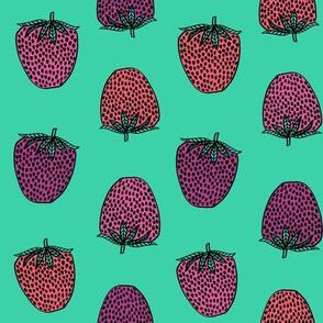 strawberries fabric // strawberry fruit berries summer food fruit design by andrea lauren - bright mint