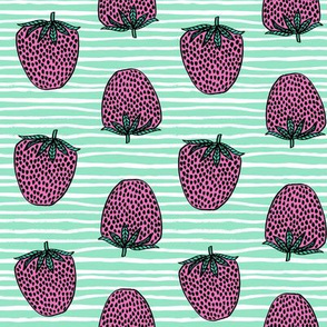 strawberries fabric // strawberry fruit berries summer food fruit design by andrea lauren - mint stripes