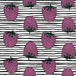 strawberries fabric // strawberry fruit berries summer food fruit design by andrea lauren - pink stripes
