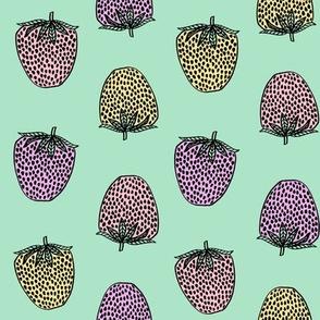 strawberries fabric // strawberry fruit berries summer food fruit design by andrea lauren - pastel mint