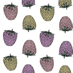 strawberries fabric // strawberry fruit berries summer food fruit design by andrea lauren - pastel