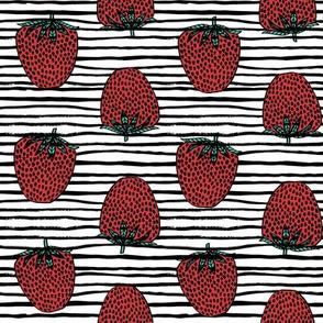 strawberries fabric // strawberry fruit berries summer food fruit design by andrea lauren - stripes