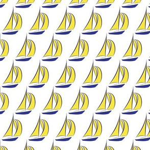 16-03g Nautical Sail boat || Ocean Water Royal Navy Blue Sun Yellow _ Miss Chiff Designs